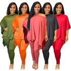 NEW Stylish Women Short Sleeves Solid Color Asymmetric Casual Jumpsuit 2pcs