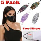 2PCS Reusable Washable Fashion Face Mask Sequin Glitter Bling Mouth Nose Cover
