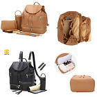 PU Leather Diaper Bag Backpack Nappy Organizer With Chaning Pad Bottle Warmer