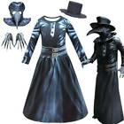 Kids Steampunk Plague Doctor Cos Costume Bird Beak Mask Hat Gloves Party Outfit
