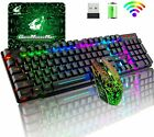 Wireless Gaming Keyboard Mouse Combo Rainbow LED Backlit Rechargeable For PC PS4