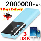 Portable Waterproof Solar Power Bank 2000000mAh Backup 2USB Battery Fast Charger