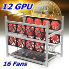 12 GPU Stackable Open Air Miner Mining Rig Case +16 Fans For ETH/BTC Aluminum