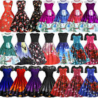 Women Retro Rockabilly Dress Christmas Xmas Evening Party Pleated Dresses Skater