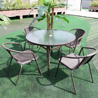 Brown Stackable Chairs Glass Round Table Outdoor Garden Furniture Set 4 Seaters