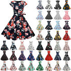 Women's 1950s 60s A-line Vintage Floral Rockabilly Hepburn Evening Party Dress