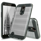 For LG Phoenix 3 / Risio 2 /Rebel 2 Brushed Armor Rubber TPU Case+Tempered Glass