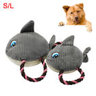 CC_ FJ- PET DOG PUPPY SHARK SHAPE PLUSH DOLL COTTON ROPE SQUEAKY CHEW PLAY TOY S
