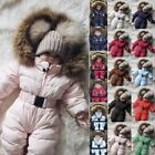 Toddler Baby Boy Girl Winter Romper Jacket Hooded Jumpsuit Thick Coat Outfit