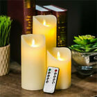 "Set of 3 Color Changing Flameless LED Candles with Remote Control Timer 4"" 5"" 6"""