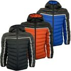 Mens Padded Reflective Jacket Brave Soul Quilted Coat Hooded Casual ZANE Winter