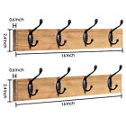 Rustic Coat Rack Wall Mounted Set of 2 Wood Clother Hanger 4 Hooks for Entryway