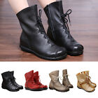Autumn Winter Womens Vintage Leather Boots Warm Boots Low Heel Women's Boots USA