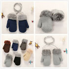 1 Pairs Kids Winter Gloves Thermal Snow Soft Warm On String Full Finger Mitten
