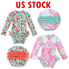 Baby Girls Long Sleeve Bikini Swimwear Swimsuit Beachwear Rash Guard Costume US