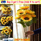 7 Heads Large Artificial Sunflower Fake Flowers Floral Garden Decor Home Nv Au