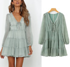 French Style Dresses womens long sleeves short Dress Floral boho vintage outdoor