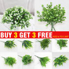 Artificial Plants Indoor Outdoor Fake Leaf Foliage Bush Flower Garden Home Decor