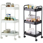 3-Tier Rolling Storage Cart Kitchen Utility Cart Organizer Shelving With Wheels