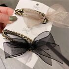 Hairpin Elegant Lace Yarn Bow Bb Rhinestone Metal Chain Women Girls Accessories