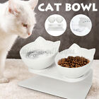 Cat Single Double Bowls with Raised Stand Pet Food Water Bowl Cat Dog Feeder UK