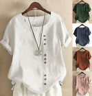 Womens Summer Short Sleeve Loose Tops Cotton Pullover T Shirts Blouse Plus Size