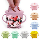 Baby Kids Silicone Snack Cup With Lid Spill-proof Snack Food Keeper Bowl