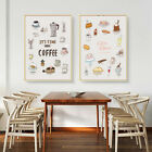 Home Hanging Decor Print Paper Canvas Wall Art Time For Coffee 2 Sets Poster