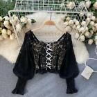 Womens Floral Lace Blouse Shirt Top Long Puff Sleeve Crop Ruffle Bow Retro