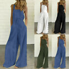 Women's Sleeveless Overalls Jumpsuit Casual Solid Summer Wide Leg Bib Pants