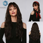 Long Loose Wavy Dark Black Brown Wigs with Bangs for Woman Daily Cosplay wig