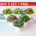 Artificial Flowers In Pot Vase Fake Plants Lotus Rose Home Garden Outdoor Decor