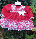 DREAM NB 0-3 3-6 6-12 months BABY GIRL red white lace lined dress or reborn doll