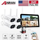 "Home Security Camera System Outdoor 3MP Audio Wireless 8CH 12"" With Monitor 1TB"