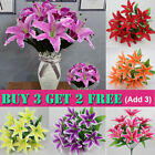 Artificial Lily Silk Flowers Bride Bridal Bunch Wedding Party Home Table Decor
