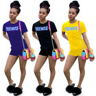 Hot Sale Casual Women Solid Letter Printed Round Neck Short Sleeve Shorts 2 Pcs