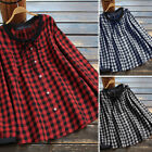 Women Round neck Button Up Tops Shirt Ladies Tartan Check Loose BlouseT-Shirt US