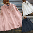 Women's Cotton Retro Embroidered Tops Asymmetrical Hem Casual Baggy Shirt Blouse
