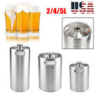 2/5L Stainless Steel Beer Barrel with Spiral Cover Lid Practical Home Hotel