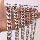 8/10/12/15/17/19mm Polished Mens Chain Stainless Steel Curb Cuban Link Necklace