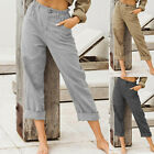 Womens High Waist Cotton Linen Trousers Casual Loose Solid Pocket Long Pants