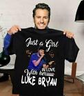 Just A Girl In Love With Her Luke Bryan T-Shirt Cotton Size S-3XL