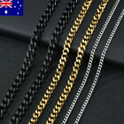 Men Women Classic Curb Chain Solid Stainless Steel Link Chain Necklace 45-65cm