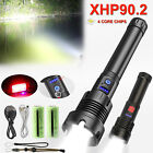 USB Rechargeable Torch XHP90.2 LED Flashlight Super Bright Lamp 7Mode Zoom Light