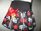 New Girls Goth,Black,Red,White Skulls,Roses,check cheerleader Skirt,Gift,pirate