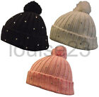 W20 LADIES FUNKY DIAMANTE JEWEL STONES RIBBED BEANIE BOBBLE POM POM SKI HAT 3col