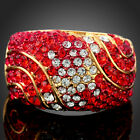 ARINNA ruby red gorgeous finger Ring yellow gold plated GP 18K Swarovski Crystal