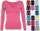 NEW LADIES LONG SLEEVE V NECK STRETCH WOMENS TOP SIZE 8 - 14