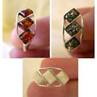 BALTIC WHITE GREEN or HONEY AMBER STERLING SILVER THREE-STONE RING VARIOUS SIZES