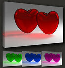 GLASS HEARTS LOVE FUNKY CANVAS PRINT MANY COLOURS & SIZES TO CHOOSE FROM